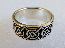925 Sterling Silver Celtic knot Band Ring Size 10  10 mm wide