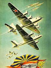PROPAGANDA SOVIET UNION AIR FORCE PLANE FLAG ART POSTER PRINT LV7034