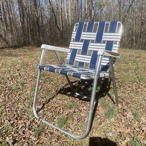 Vintage Mid Century Aluminum Webbed Folding Beach Lawn Chair Blue red green