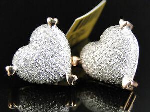 Ladies 10K Rose Gold Diamond Heart Stud Earrings 15 mm 1.10 Ct
