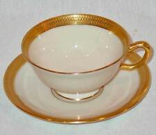DISCONTINUED LENOX CHINA  LOWELL PATTERN  FOOTED TEA CUP & SAUCER SET MINT