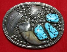 Vintage-Native Western Art-Kingman Turquoise-Belt Buckle