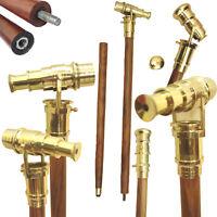 Brass Vintage Telescope Hidden Cane Folding Medieval Walking Stick a1v1