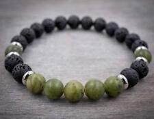 Lava Green jade 8mm mala lucky bracelet beads men pray buddhist yoga meditation