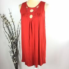 Ella Moss Anthropologie Women Size L Red Babydoll Sleeveless Swing Dress 6A