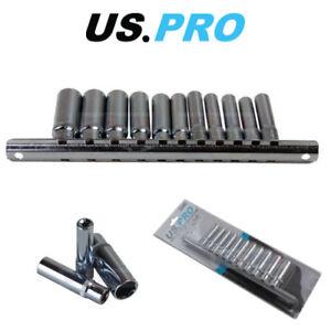 "US PRO 11pc 1/4"" Dr 4 - 13mm Deep Sockets Single Hex 6 Point On Rail 3240"