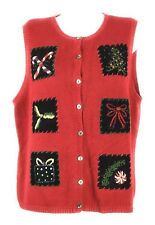 Ugly Christmas Sweater Vest Women's Large L Red Tacky Party