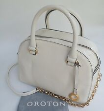 New OROTON Alpine Chain Barrel Handbag Bag Leather Seashell RRP$595