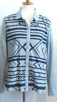 Stylus Women's XL chambray blue white vertical stripe button up shirt w/ pattern