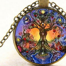 Chakra Connections on Tree of Life Necklace, Cosmic World Spiritual Tree System