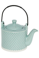 NEW Keely Reactive Glaze Teapot with Iron Handle - Mint