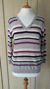Moda @ George 100% Cashmere Striped V Neck Jumper Size 14 - 16