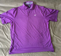 FOOTJOY  Mens XXL  Polo Shirt Golf Purple Masters  Striped Collar Stretchy Soft