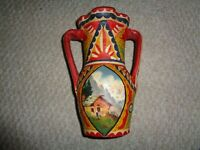 1940's hand painted Sicily pottery vase double handle country scene WWII souveni