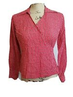 Talbots Petites Top Womens Size 2 Wrap Long Sleeves Tie Geometric 100% Silk Red