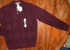 Burgundy Sweater Henley Geoffrey Beene Super Soft Mens size Small New