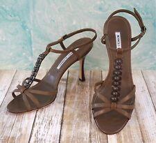 MANOLO BLAHNIK Strappy Brown Leather T-Strap Sandals Heels 38/7.5 ~ $585 BNIB!