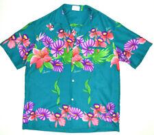 Vintage Royal Hawaiian Shirt M/L 60s Teal Hawaii Kurt Cobain Aloha Grunge