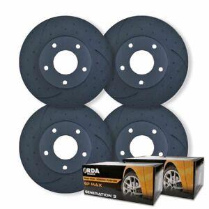 FULL SET DIMPLED SLOTTED DISC BRAKE ROTORS + PADS for Holden Caprice WM WN V8 20