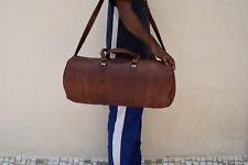 "22"" Vintage Leather Duffle Bag Sports Gym Yoga Barrel Bag Travel Luggage Handbag"