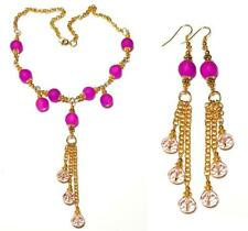 GOLD STATEMENT NECKLACE EARRING SET pink gypsy vintage antique style boho prom