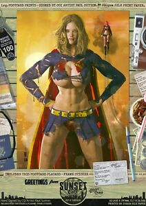 Supergirl SEXY 'Sunset City' Signed DC Comic A3 Print Superman Ripped 'N' Torn
