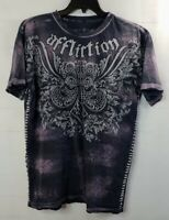 AFFLICTION Distressed Side Stitched Cross Purple T-Shirt Men's XL Live Fast