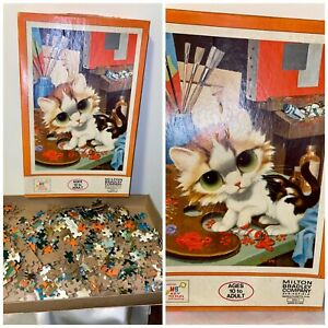 Gig Art Big Eye Pity Kitty Cat Puzzle - Vintage 1968 Milton Bradley toy