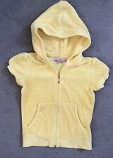 JUICY COUTURE - YELLOW SHORT SLEEVE HOODED TOWELING CARDI WITH ZIP - AGE 4