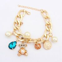 New Women Bear Crystal Gold Plated Charm Chunky Chain Bangle Bracelet Jewelry