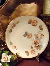 DESSERT/PIE PLATE: KRISTER Porzellan Manufaktur Tan & Peach Roses Gold Leaves