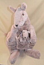 "Ikea Klappar Kanguru LARGE Mama Baby Joey Brown Plush Stuffed Kangaroo 30"""