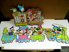 Vintage Disney Cardboard Train Wall Hangings Decor 1980s Mickey Pluto Minnie