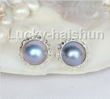 AAA natural 20mm blister Blue South Sea Mabe Pearls Earrings 925 silver j11097