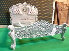 BESPOKE Double size Grey / Silver Rococo Bed with Chesterfield style Upholstery