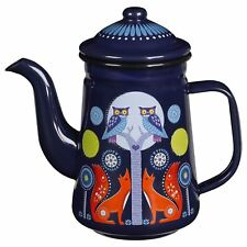 New Wild & Wolf Folklore Day Forest Animals Blue Enamel Tea Coffee Pot 4 Cup