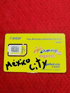 Telcel Sim card.Mexico City area.UNLIMITED calls/SMS within CANADA,USA&MEX