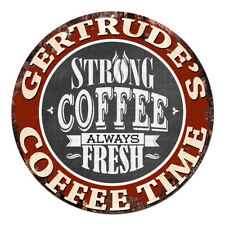 CWCT-0207 GERTRUDE'S COFFEE TIME Chic Tin Sign Decor Gift Ideas