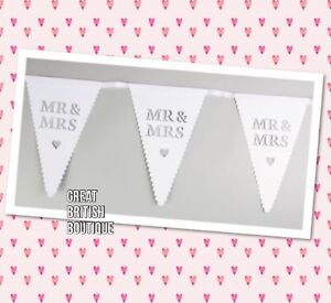 Shabby Chic Vintage Style Paper Wedding Bunting - Mr & Mrs - Sass & Belle - 5m