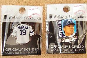 2 - NY New York Yankees Masahiro Tanaka pins #19 photo & jersey lapel pin