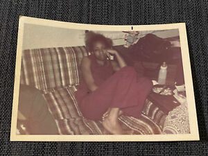 Sexy African American Unimpressed On Couch Vintage 1970s Color Photograph