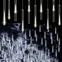 144LED Meteor Shower Lights Falling Rain Icicle Outdoor Wedding Decoration White