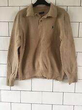 Homme Ralph Lauren années 90 rétro vintage sable Old School laine d'agneau Pull Taille M
