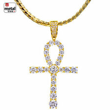 Fashion 14K Gold Plated CZ ANKH Cross Pendant Miami Cuban Chain Set BCH 15110 G