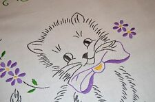Kitty Cat & Purple Flower Power! Vtg German Spring Hand Tablecloth + Free Sham