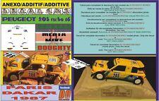 ANEXO DECAL 1/43 PEUGEOT 205 TURBO S.MEHTA PARIS DAKAR 1987 5th (08)