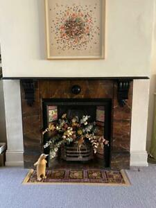 Original Slate Victorian Fireplace with beautiful tiles