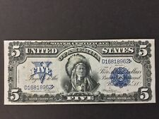 1899 Us $5 Dollars Silver Certificate Indian Chief.