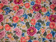 "red, orange, pink and white flowers on pale blue cotton  3.5 YARDS X 45""  BLU437"