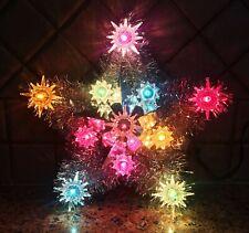 Vintage Star Christmas Tree Topper 11 Lights Silver Tinsel Starburst Reflectors